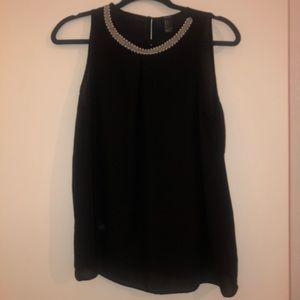 Black Sheer Short Sleeve Top w/ Detailed Neckline